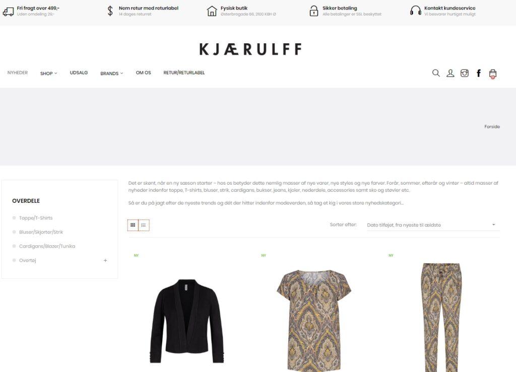 Eksempel på Prestashop webshop fra Kjærulff Copenhagen tøjbutik